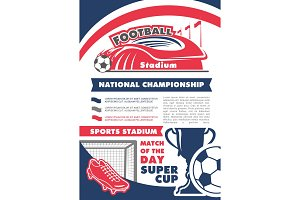 Vector poster for football soccer championship