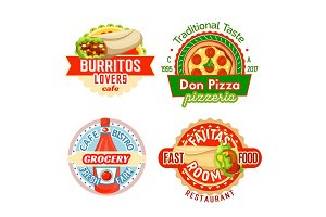 Fast food restaurant snacks meals vector icons