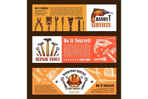 Vector home repair sketch work tools banners