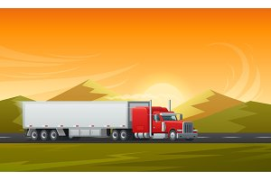 Trailer truck long vehicle vector flat design