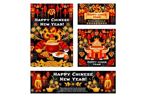 Chinese New Year symbols vector greeting cards
