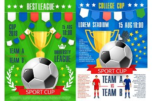 Vector posters for soccer sport football game