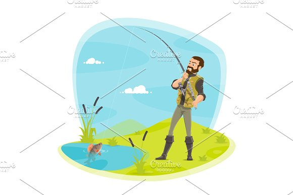 Vector Fisherman Fishing And Fish Catch At Lake