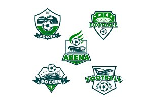Vector football club icons of soccer balls