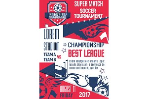 Vector poster for football or soccer league game