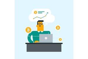 Man getting bitcoin coin from bitcoin trading.