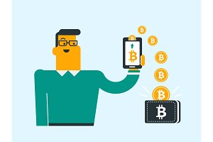 Bitcoin coins relocating from phone into wallet.