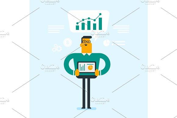 Businessman presenting report on digital tablet.