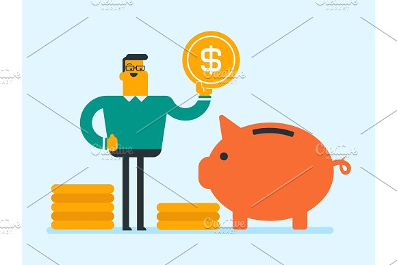 Caucasian manager putting a coin in a piggy bank. in Illustrations