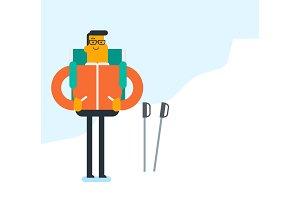 Caucasian mountaineer climbing a snowy ridge.