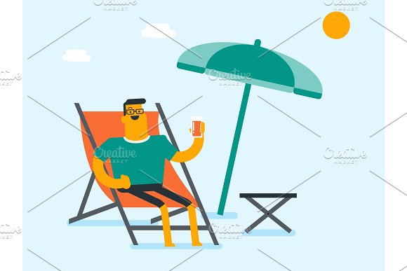 Young caucasian man relaxing on the beach chair. in Illustrations