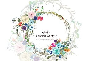 Colorful Floral Wreath Clip Art