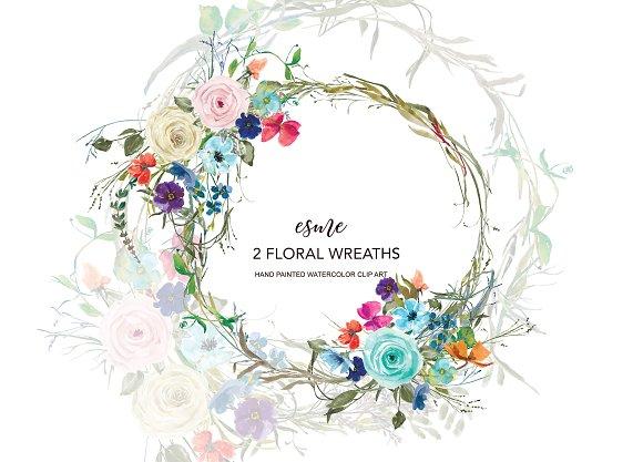 Colorful Floral Wreath Clip Art