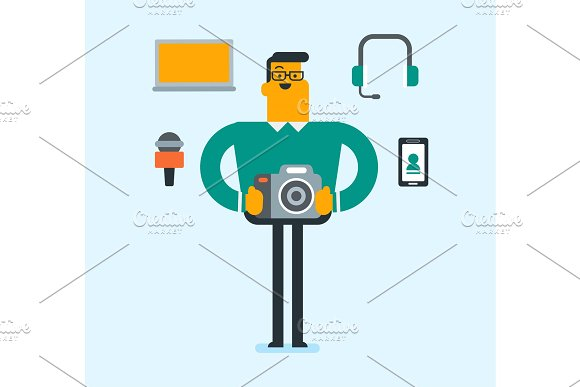 Caucasian white man surrounded by his gadgets. in Illustrations
