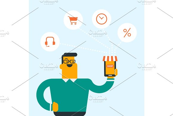 Man holding phone connected with shopping icons.