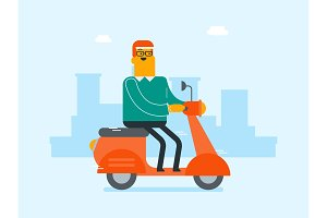Young caucasian white man riding a scooter.