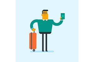 Caucasian airplane passenger holding a passport.
