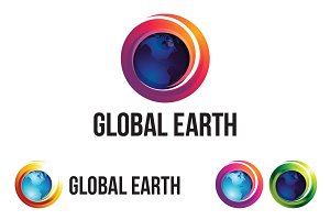 Planet Earth Sphere 3D Modern Logo