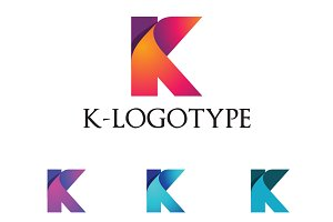 K Letter Folded Business Logo