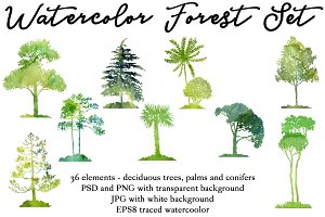 Watercolor Forest Set