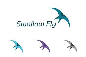 Swallow Bird Flying Abstract Logo