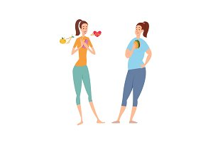 Slim and fat woman. Diet, nutrition, sport