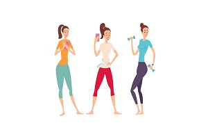 Three shapely friends with fitness gadgets posing and showing their excellent body.