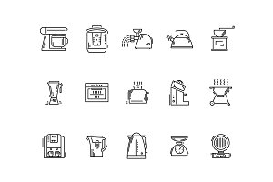 Line icons kitchen utensils appliances and kitchenware