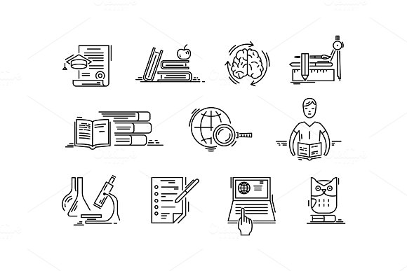 Line icons education science lessons study school.