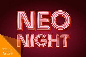 Realistic vector neon alphabet 3