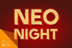 Realistic vector neon alphabet 2