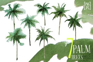7 watercolor palm trees