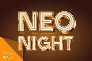 Realistic vector neon alphabet 4