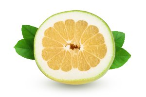 slice of Citrus Sweetie or Pomelit, oroblanco with leaf isolated on white background close-up