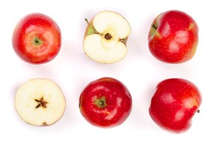 red apples with slices isolated on white background top view. Set or collection. Flat lay pattern