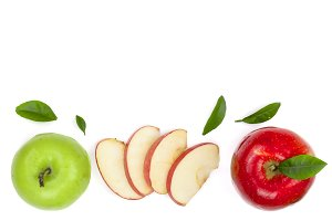 red and green apples with slices and leaves isolated on white background with copy space for your text, top view