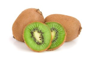 Kiwi fruit isolated on white background, close-up