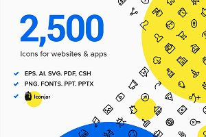 2,500 Line and Solid Icons