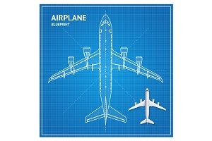 Airplane Blueprint Plan Top View.