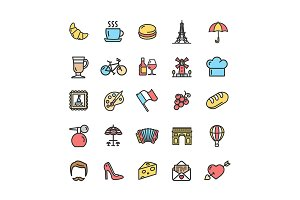 France Travel Thin Line Icon Set