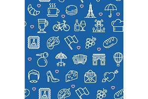 France Travel Seamless Pattern