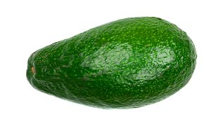 whole avocado isolated on white background close-up
