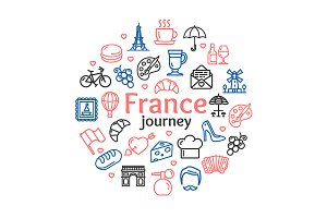 France Travel Round Design Template