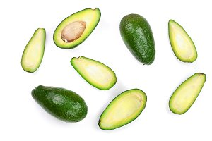 whole and half avocado isolated on white background close-up. Top view