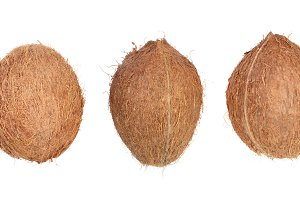 three whole coconut isolated on white background. Flat lay. Top view