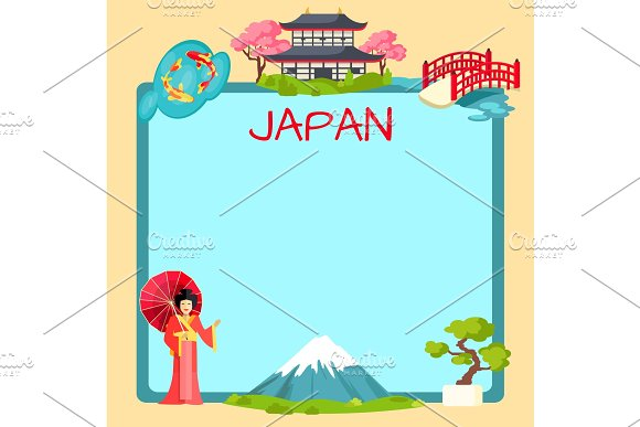 Japan Poster with Traditional Oriental Elements
