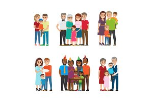 Group Portraits of Happy Families Vector Set