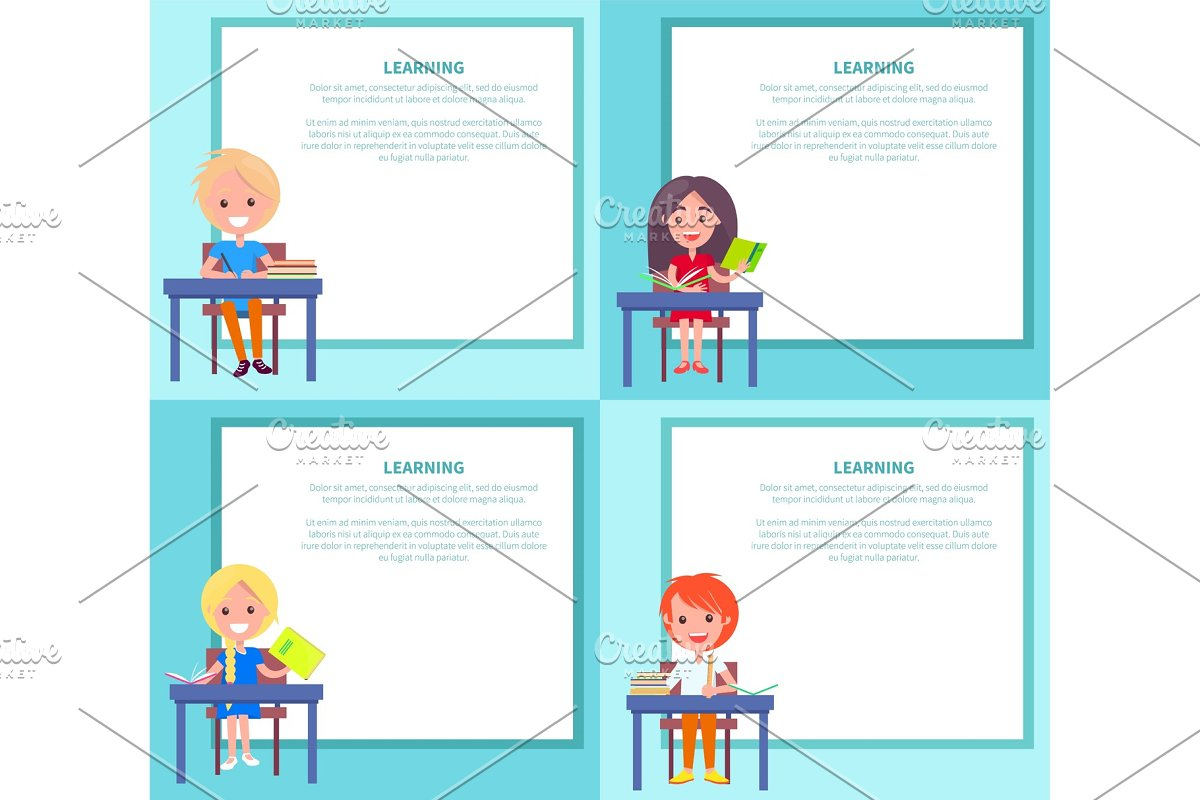 Learning Banners Set with Children Sitting at Desks