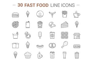 Line Icons - Fast Food