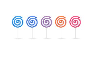 Swirl Spiral Lollipops Candy Set Isolated on White